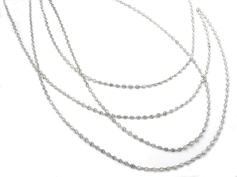 Brilliant Cut Stephen Russell Diamond Long Chain Set in Platinum For Sale
