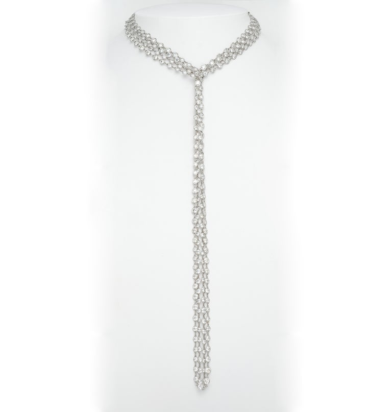 Stephen Russell Diamond Long Chain Set in Platinum In New Condition For Sale In New York, NY