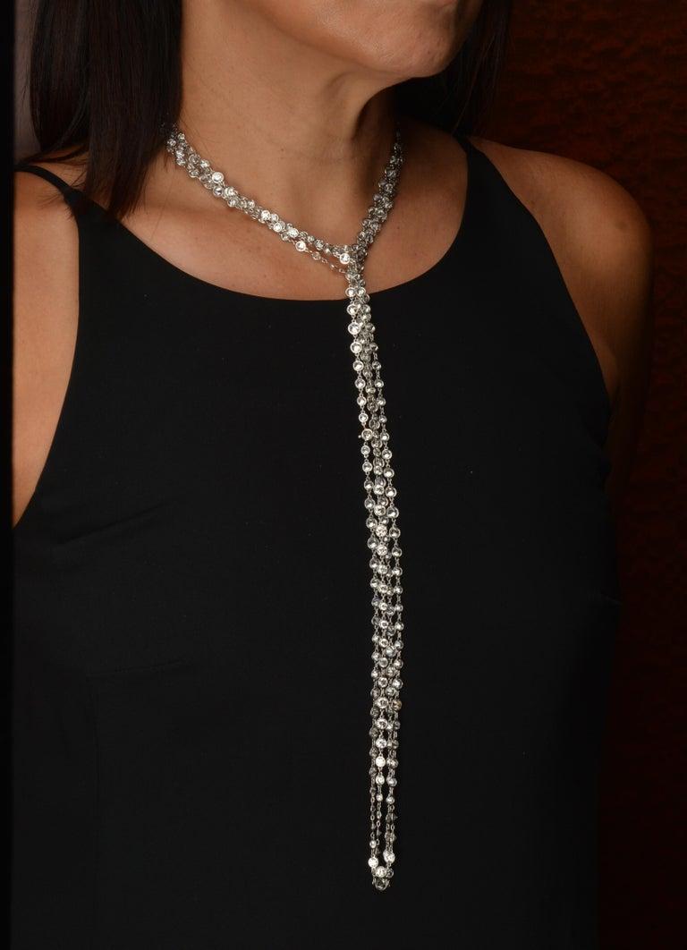 Women's or Men's Stephen Russell Diamond Long Chain Set in Platinum For Sale