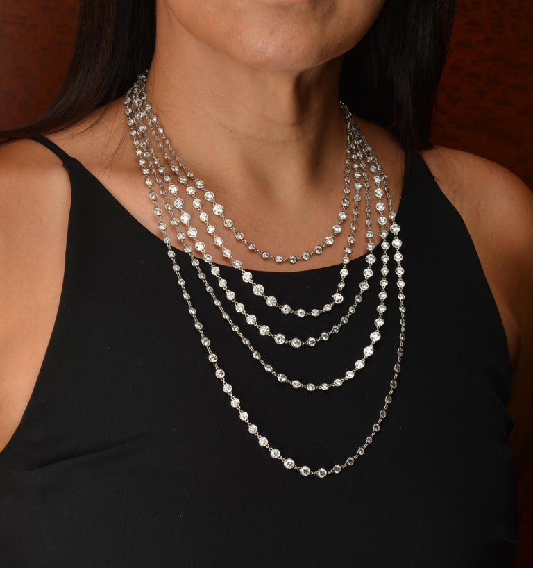 Stephen Russell Diamond Long Chain Set in Platinum For Sale 2