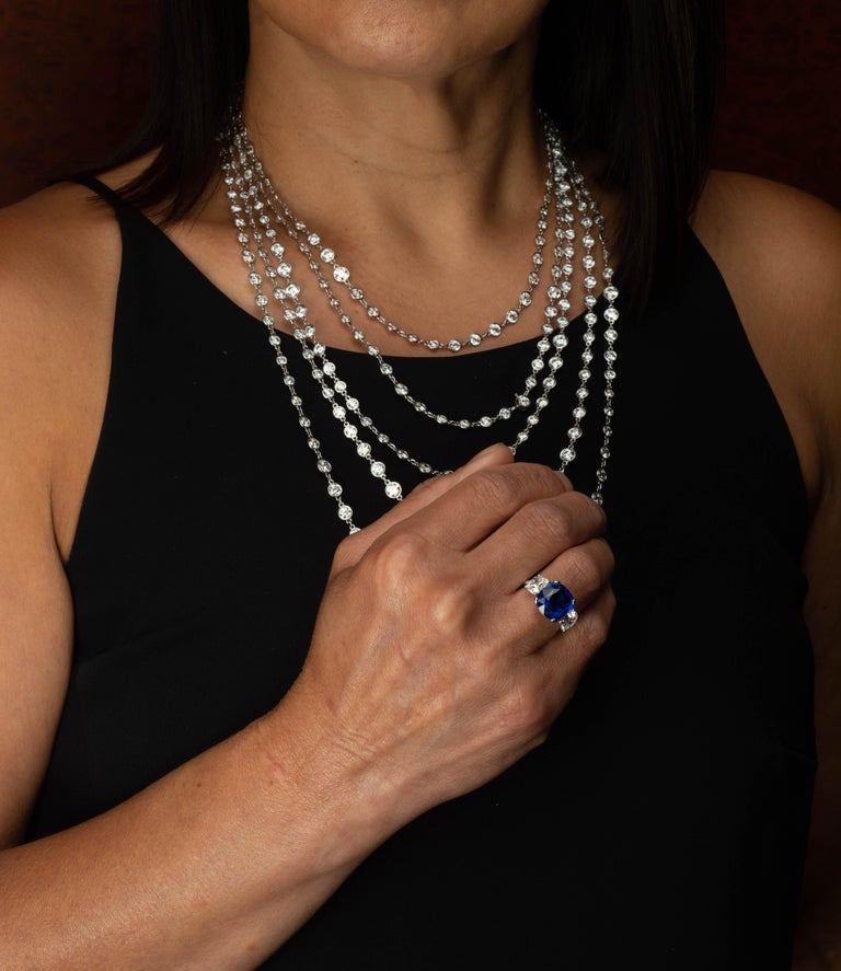 Stephen Russell Diamond Long Chain Set in Platinum For Sale 3