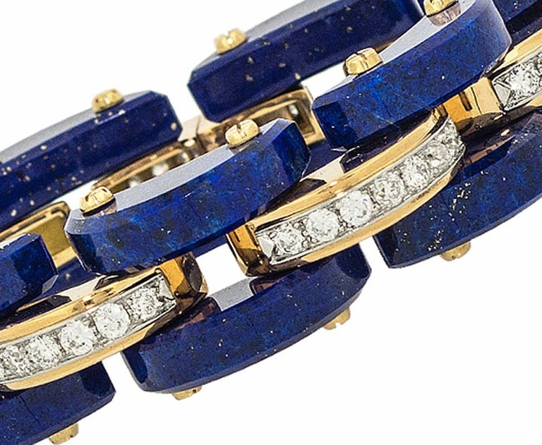 Lapis and Diamond Bracelet set in 18Kt Gold by  STEPHEN RUSSELL; 56 Diamonds 4.54ct;