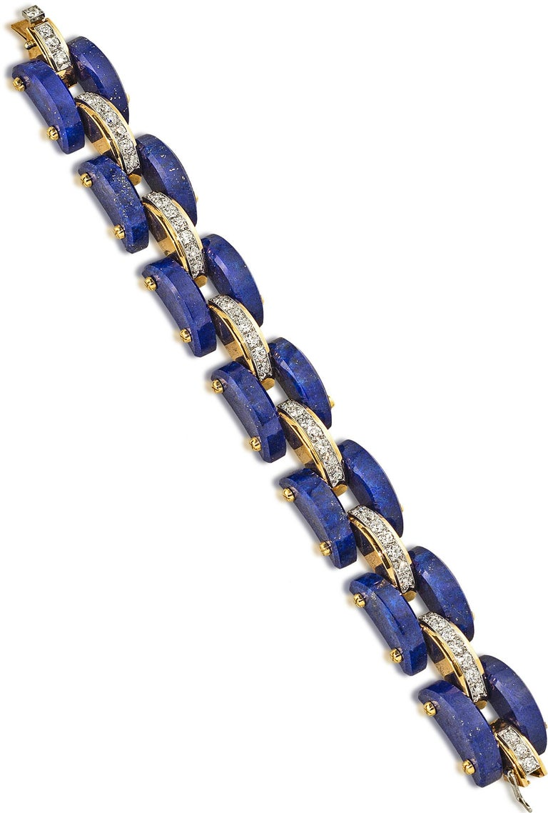 Retro Stephen Russell Lapis Lazuli Diamond and Gold Bracelet For Sale