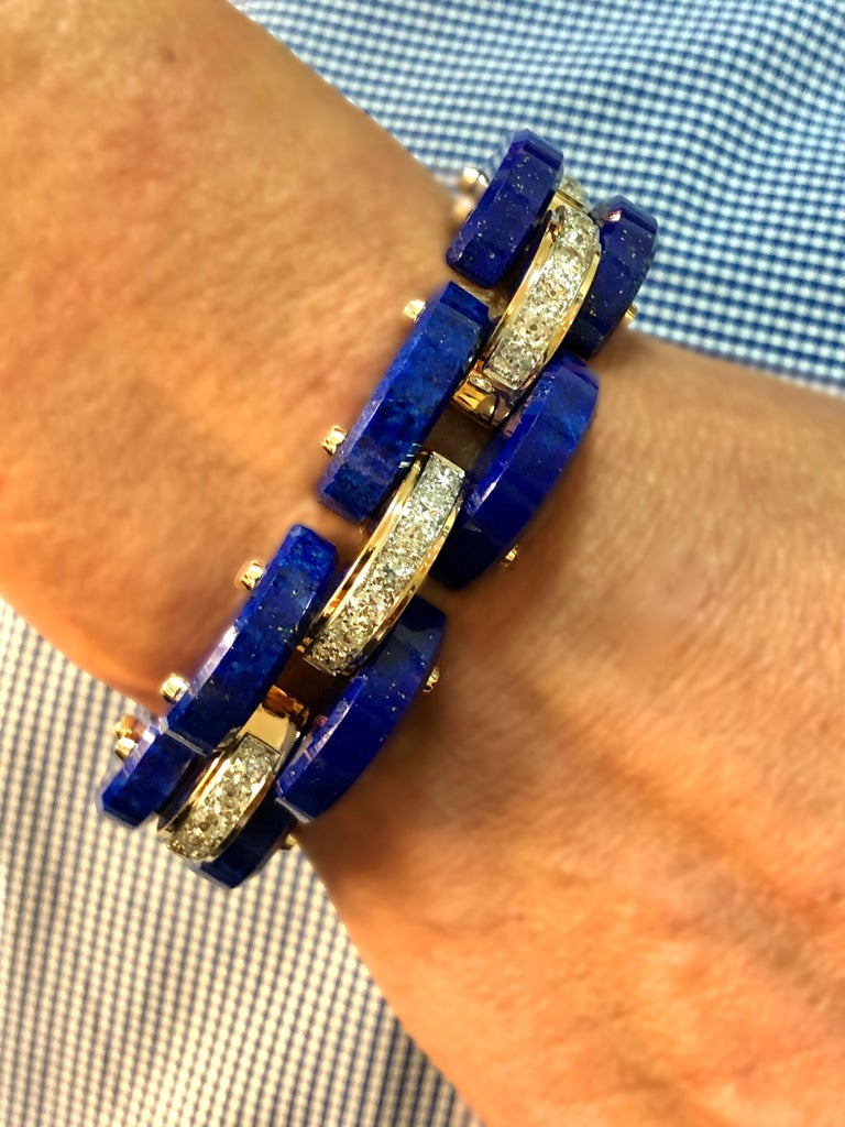 Old European Cut Stephen Russell Lapis Lazuli Diamond and Gold Bracelet For Sale