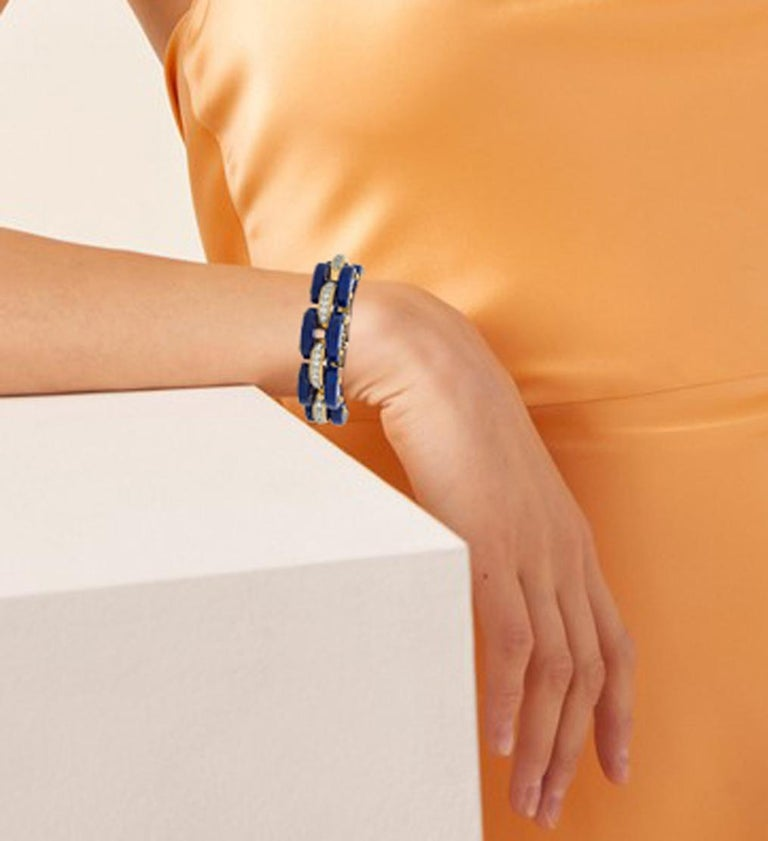 Stephen Russell Lapis Lazuli Diamond and Gold Bracelet In New Condition For Sale In New York, NY
