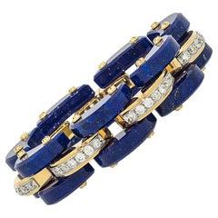 Stephen Russell Lapis Lazuli Diamond and Gold Bracelet