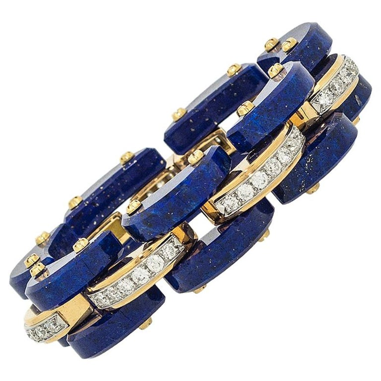 Stephen Russell Lapis Lazuli Diamond and Gold Bracelet For Sale