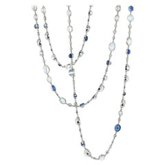 Stephen Russell Moonstone Sapphire and Diamond Platinum Chain