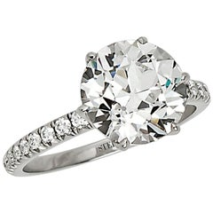 Stephen Russell Old European Cut Diamond Engagement Ring, 3.35 Carat, E VS2