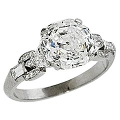Stephen Russell Platinum and Asscher Cut Diamond Ring