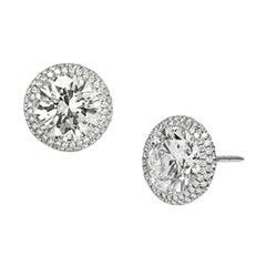 Stephen Russell Platinum and Diamond Stud Earrings