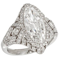 Stephen Russell Platinum and Navette Cut Diamond Ring
