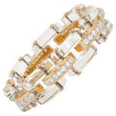 Stephen Russell Rock Crystal Diamond and Gold Bracelet