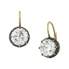 Stephen Russell Silver Gold and Old European Cut Diamond Earrings