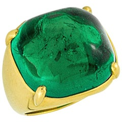 Stephen Russell Sugarloaf Cabochon Emerald Ring