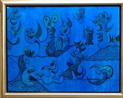 Bimorphic Modern Blue Abstract Oil Painting Armenian American Artist