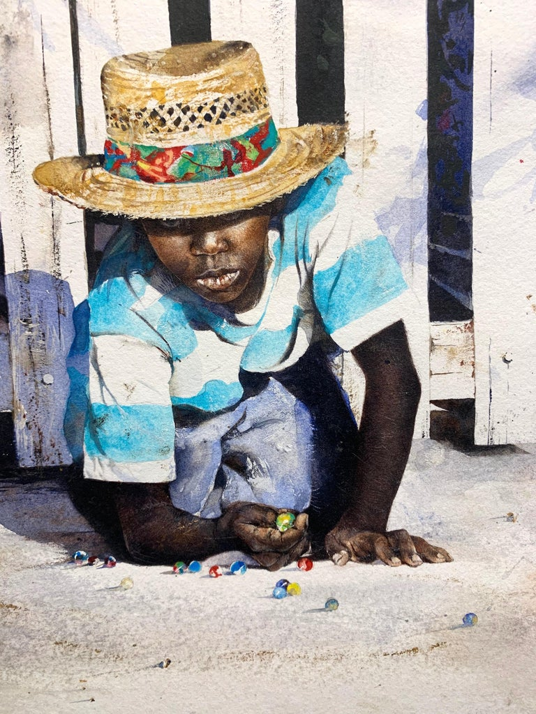 Island Games (Lucky Shot) - American Realist Painting by Stephen Scott Young