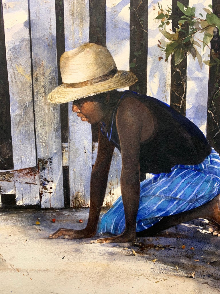 Island Games (Lucky Shot) - Gray Figurative Painting by Stephen Scott Young