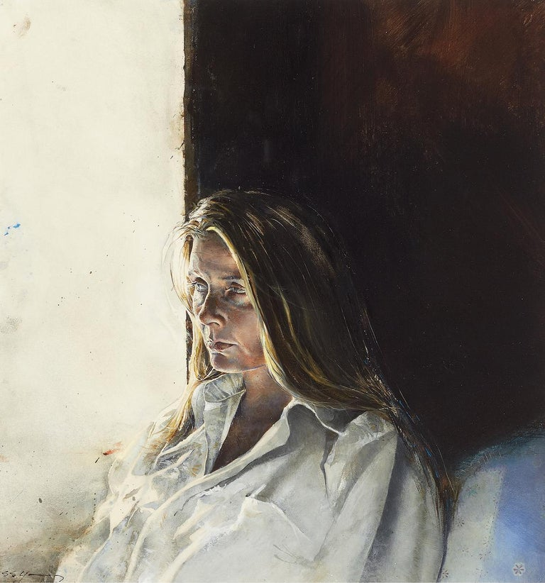 "This meticulously rendered work depicts a three-quarter view of a young woman lost in deep  introspection.    Inscribed on verso:   "" The Captain's Lady""  Leslie of ____________ St. Agustine, Florisa  SS Young, 1987  Framed with glass to an overall"