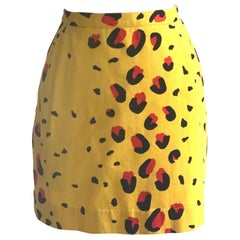 Stephen Sprouse 1980s S Line Yellow and Red Animal Print Mini Skirt