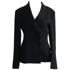 Stephen Sprouse 1990s Black Velcro Closure Wool Blazer Jacket