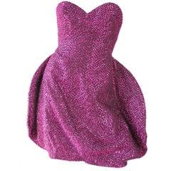 Stephen Sprouse Strapless Eyelash Bubble Dress, 1980s