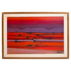 Stephen Thomas Rascoe Abstract Landscape Painting 1970s 'Sierra Madre' Texas Art
