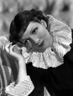 Claudette Colbert in Ruffled Collar Movie Star News Fine Art Print