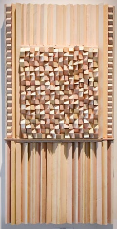 Ceremonial (Abstract 3-D Wooden Wall Sculpture in shades of red and yellow)