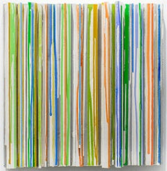 Dribbles & Drips (Abstract 3-D Wood Wall Sculpture in Blue, Green, Orange)