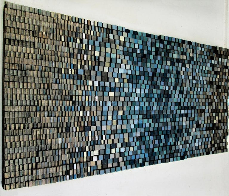 Fade In (Abstract Blue Gradient Three Dimensional Wood Wall Sculpture)  - Brown Abstract Sculpture by Stephen Walling