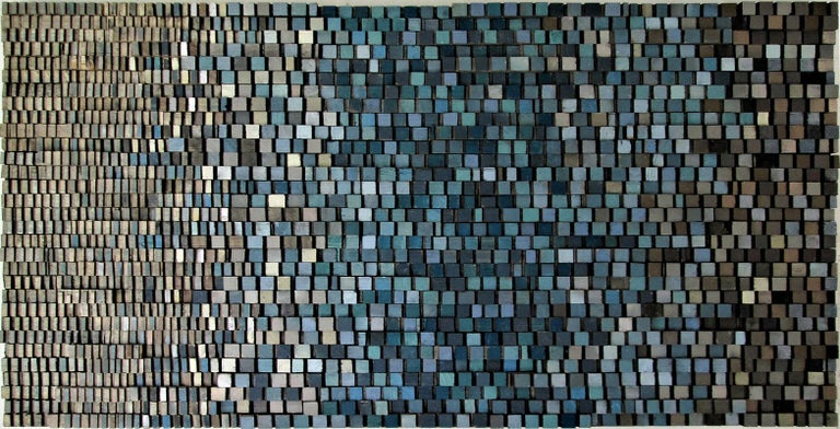 Stephen Walling Abstract Sculpture - Fade In (Abstract Blue Gradient Three Dimensional Wood Wall Sculpture)