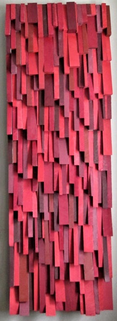Firefall (Abstract Three Dimensional Wood Wall Sculpture in Bright Red & Gray)