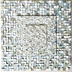Glimmering Down (Square Abstract 3-D Wood Wall Sculpture in Blue & White)