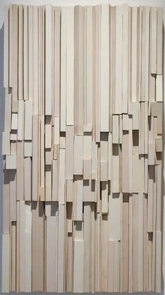Neige (Abstract 3-D Wooden Wall Sculpture in shades of white and beige)