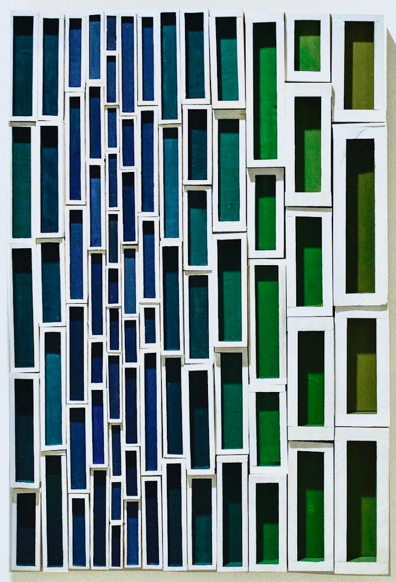 Peekin (Colorful Abstract Geometric Wood Wall Sculpture in Blue, Green & White)