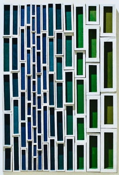 Peekin (Colorful Abstract Geometric Wood Wall Sculpture in Blue, Green & White)
