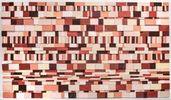Piquant: Abstract Geometric 3D Wooden Wall Sculpture in Red, Pink, Peach, Maroon