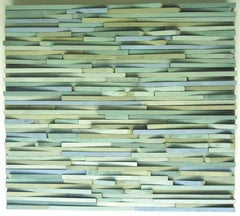 Sargasso ( Abstract New Brutalism 3D Wooden Wall Sculpture in Blues and Greens)