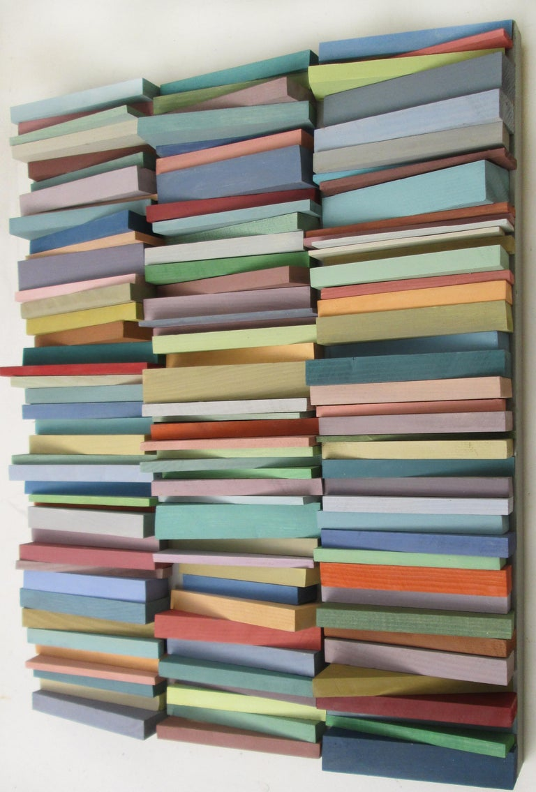 Stacked (Vertical Multi Colored Three Dimensional Wood Wall Sculpture)  1