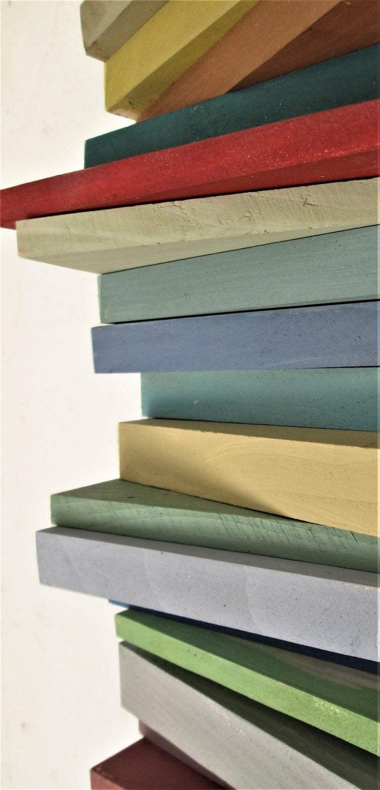 Stacked (Vertical Multi Colored Three Dimensional Wood Wall Sculpture)  4