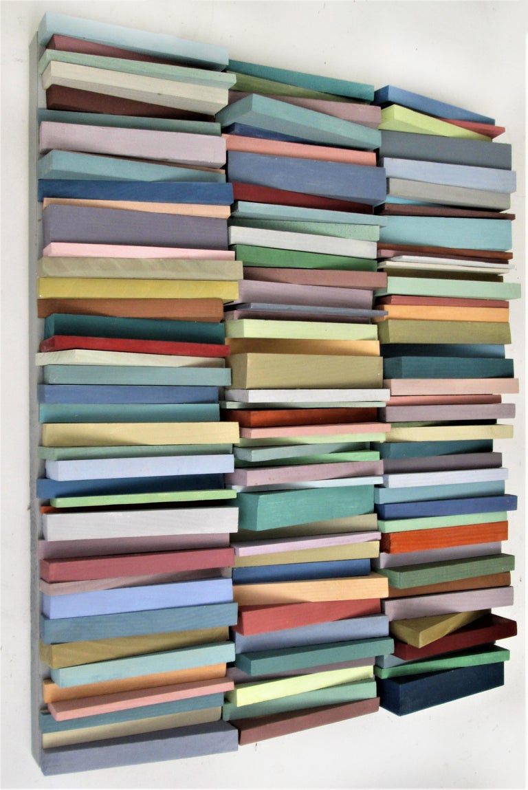 Stacked (Vertical Multi Colored Three Dimensional Wood Wall Sculpture)  5