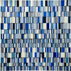 Syncopated Blues (Abstract Geometric Wall Sculpture in Blue, Black, White)