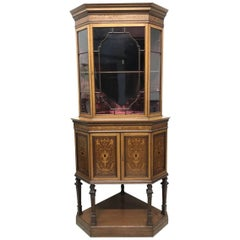 Stephen Webb for Collinson & Lock, a Renaissance Revival Inlaid Corner Cabinet