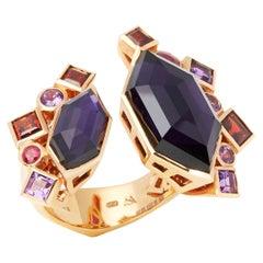 Stephen Webster 18 Carat Rose Gold Crystal Haze Gold Struck Amethyst Open Ring