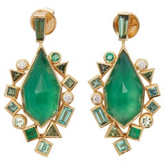 Stephen Webster 18 Karat Gold Crystal Haze Gold Struck Green Agate Earrings