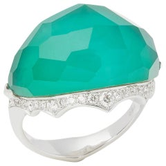 Stephen Webster 18 Karat Gold Murder She Wrote Green Agate and Diamond Ring