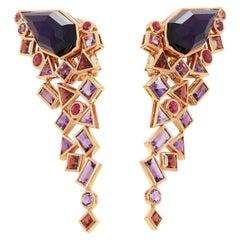 Stephen Webster 18 Karat Rose Gold Crystal Haze Gold Struck Amethyst Earrings