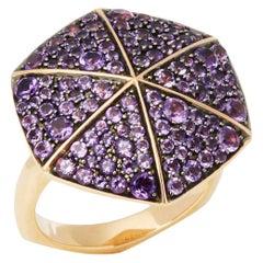 Stephen Webster 18 Karat Rose Gold full Pave Amethyst Deco Ring