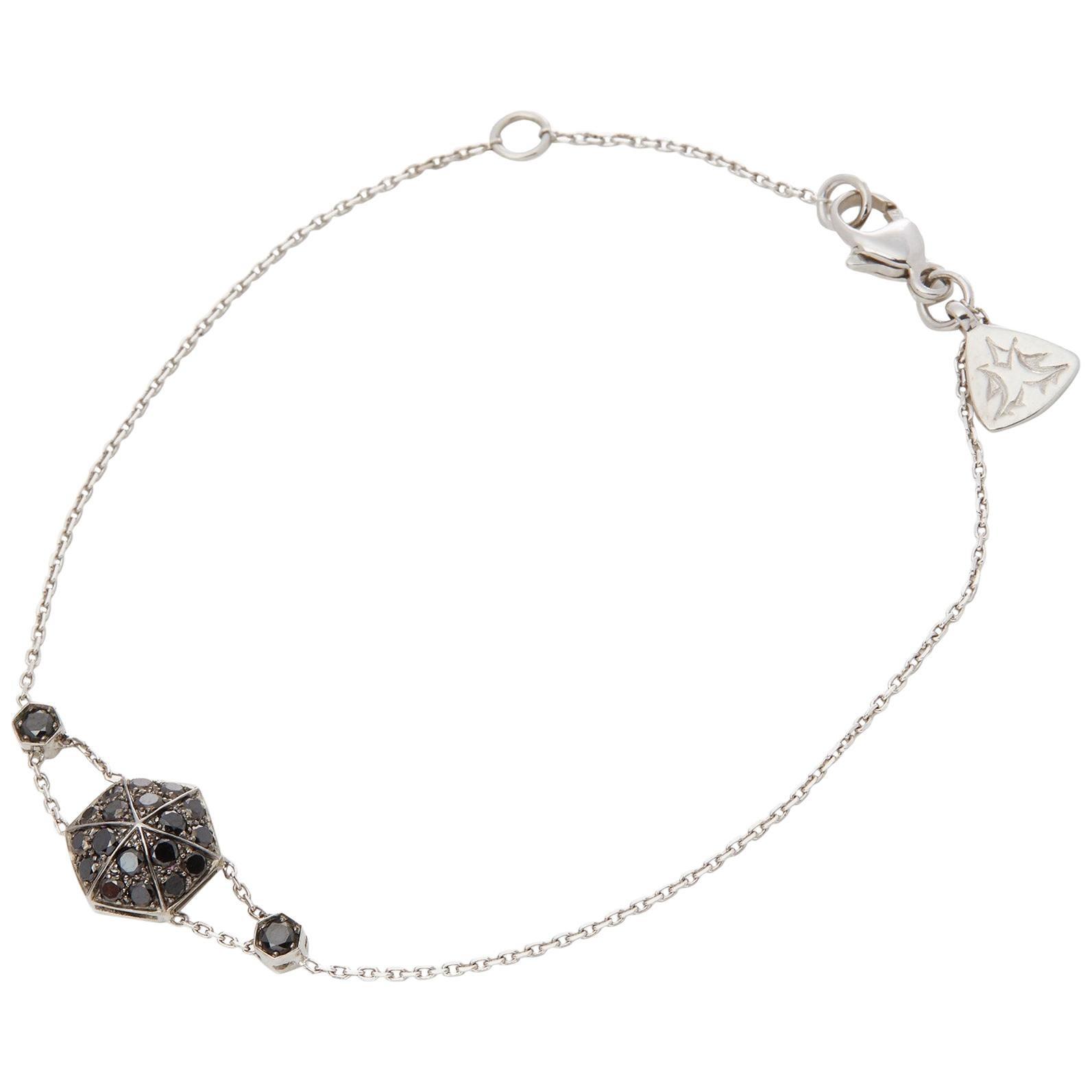 Stephen Webster 18 Karat White Gold Black Diamond Pave Deco Bracelet